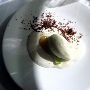 Crema de yogurt con sorbete de manzana de verde