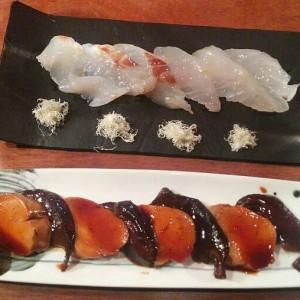 Ankimo, hígado de rape y sashimi de lubina macerada en sake